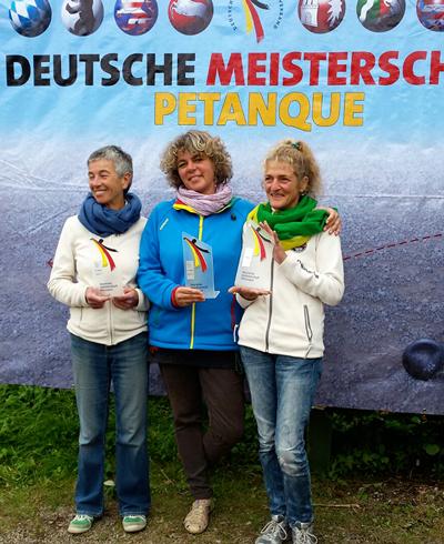 5. Platz DM Triplette Damen 09.2015: v.l.n.r. Brigitte Knapp (Neuffen), Katrin Schwinger (Denkendorf) und Gudula Hammer (Backnang)