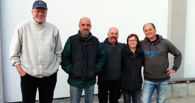 Die Tagessieger des 1. Spieltages von links nach rechts: Peter Vieweg (1.), Stefan Holtmann (2.), Bernd Fechner (3.), Mary Maier (4.), Rainer Bohner (5.)
