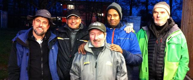 Die Tagessieger von links nach rechts: Frank Naumann (1.), Perry Bruchelt (2.), Adolf Stroh (4.), Vallipuram Rajakumar (3.), Bernd Pfeifer (5.)