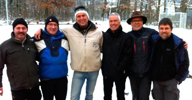 Die Tagessieger von links nach rechts: Bernd Fechner (1.), Joachim Engisch (2.), Holger Denzinger (3.), Thomas Nording (4.), Christian Lang (5.), Frank Naumann (5.)