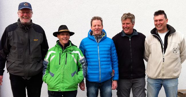 Die Tagessieger des 7. Spieltages von links nach rechts: Peter Vieweg (1.), Martin Bott (2.), Thomas Brinkmann (2.), Jochen Kauffmann (3.), Holger Denzinger (5.)