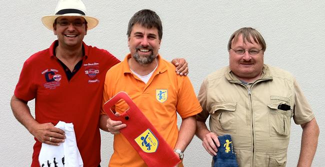 Die Sieger der Vereinsmeisterschaft 2016 von links nach rechts: Perry Bruchelt (Platz 1), Frank Naumann (Platz 2), Jörg Riedel (Platz 3)
